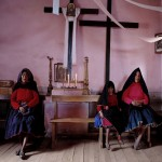 Churchwomen lake Titicaca Peru